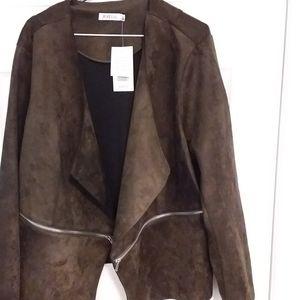 Brown faux suede like jacket
